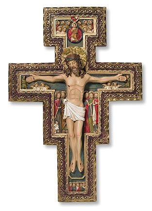 San Damiano Plaque Wall Crucifix Includes Prayer Before the Crucifix at San Damiano Prayer Card Blessed by Pope Francis