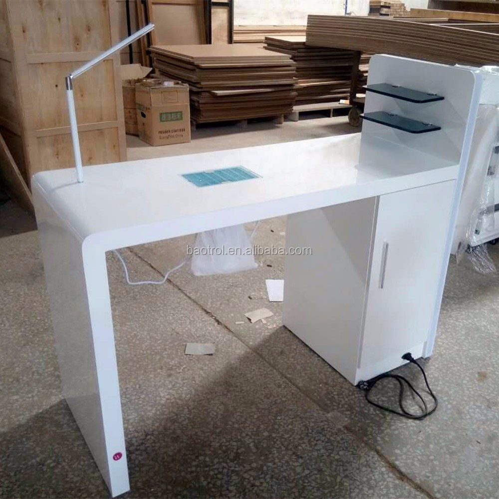 Custom size small nail dryer table manicure table with for Unique manicure tables