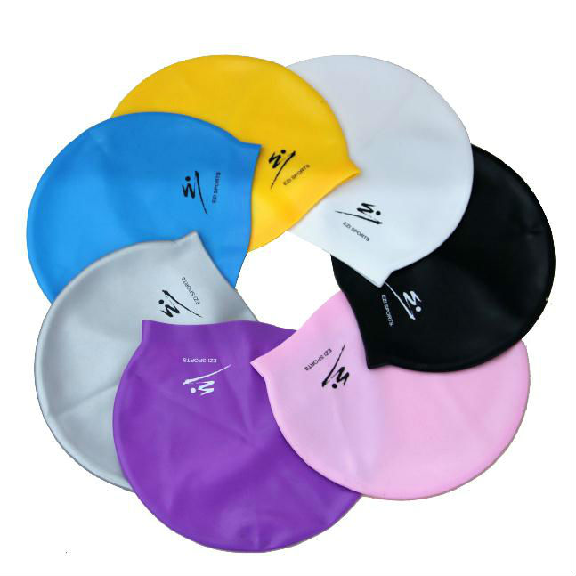 Stylish Newest Custom Design Silicone Swim Caps Eco Friendly Logo Printed Silicone Swim Caps