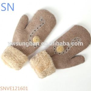 Elegant ladies winter thicken cony hair mittens with hot fix rhinestone inside fleece keep warm for ladies