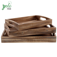 Set of 3 Rustic Wooden Country Decorative serving Trays