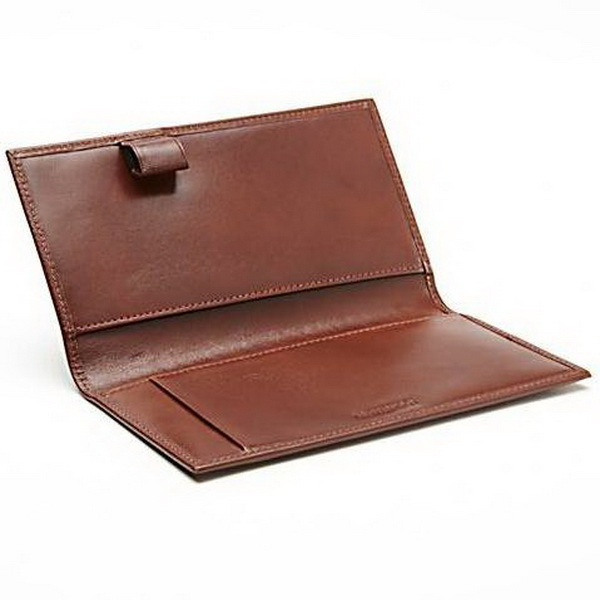 Top quality deluxe brown leather cheque book cover