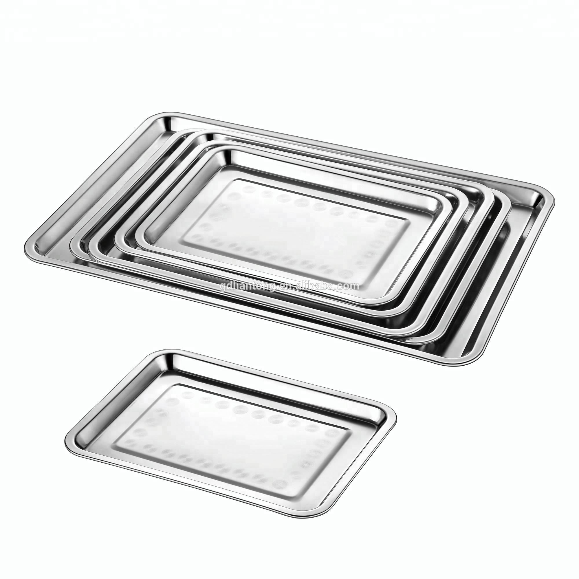 Cheap stainless steel mirror dinner buffet bbq baking rectangular meat food serving tray