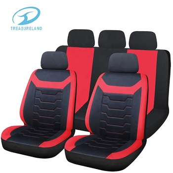 Full Set Black Red Shrink Resistant Car Seat Cover