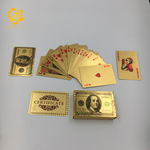 waterproof 100 USD Dollar Design 24k Gold Poker Playing Cards for new gambling game enjoyment