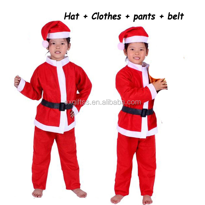 OXGIFT Made in China Alibaba wholesale Manufacture 3 Size Santa Claus Clothes and Santa Claus Children's Clothing Sets