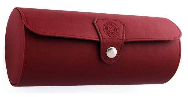 Red Leather Watch Roll Organizer