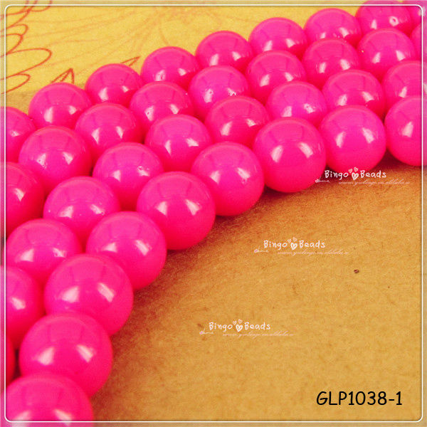 8mm Neon Candy Pink Painted Baked Round Glass Beads