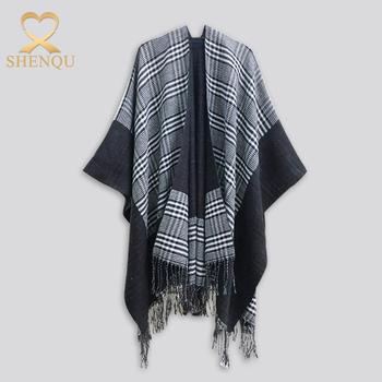 d9236f6d21b98 Yüksek kalite OEM toptan bayanlar şal ve atkılar şal ekose panço Yün Kimono  Wrap Hırka püsküller