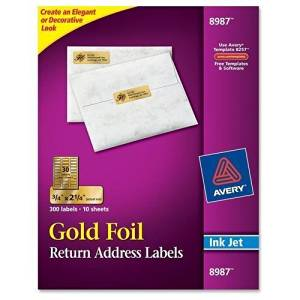 AVE8987 - Avery Gold Foil Mailing Label