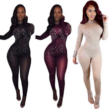 Beliebte bodycon overall einem stück volle hülse mesh diamant overall <span class=keywords><strong>sexy</strong></span> frauen club tragen playsuits EXM6008