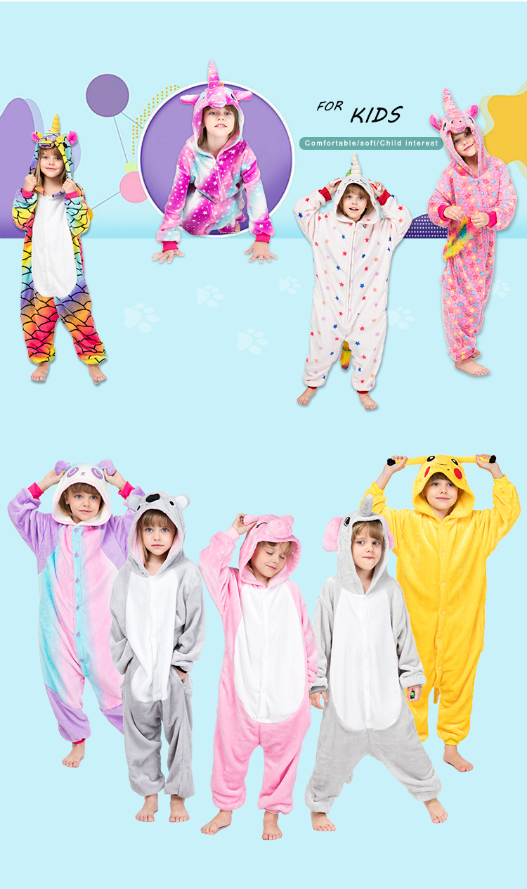wholesale kids pajamas onesie custom flannel unicorn pajamas onesie pajamas