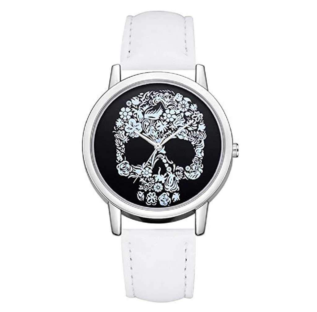 Clearance Sale! Womens Watches,ICHQ Womens Quartz Watches Ladies Casual Skull Pattern Luxury Leather Band Quartz Wrist Watch Teens Fashion Alloy Analog Watches (E)