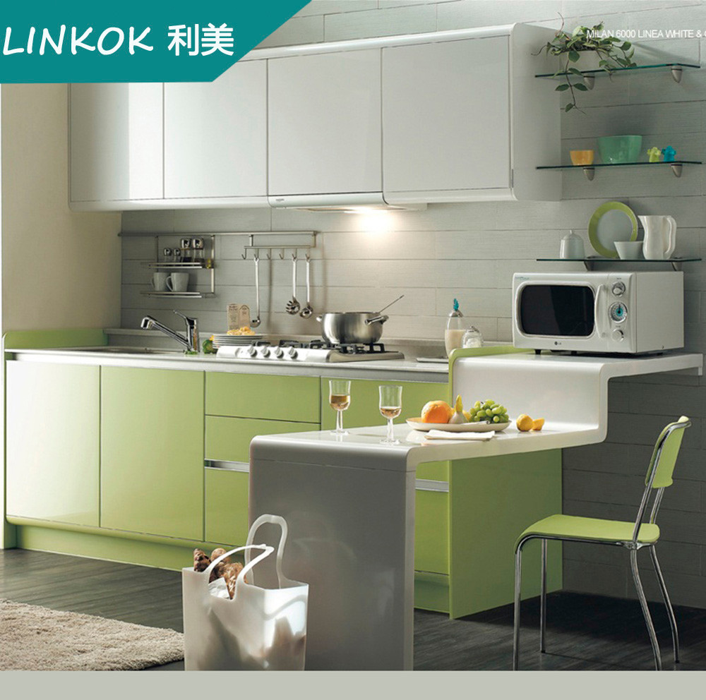 Small apartment simple design green kitchen cabinets for sale