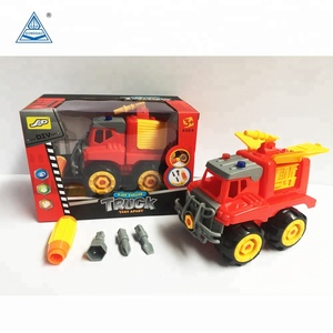 Plastic Cheap Construction Toy Tool Fire Truck Car Set
