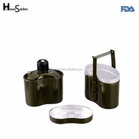 Military green canteen with cover and cup lightweight aluminum mess kit