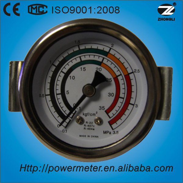(Y-40Z) 40mm stainless steel case axial mount with u clamp freon refrigerator pressure gauge manometer