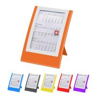 Hot sales promotional wholesale cheap non toxic PS plastic OEM logo printing solid colour rectangular shape stand table calendar