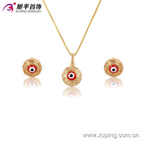 63595-Xuping Nice design evil eye pendant earring price gold set jewelry