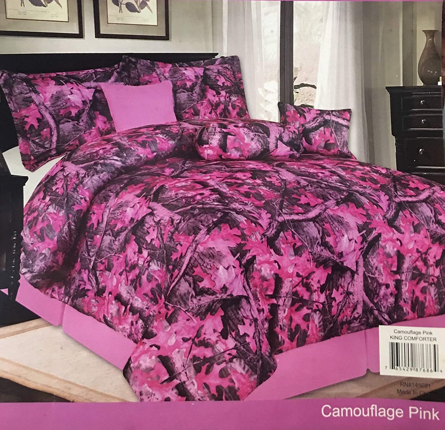 Unidos Collection 7pc Pink Camouflage Comforter Set Brown Forest Green in King Queen & Twin (Pink, King)