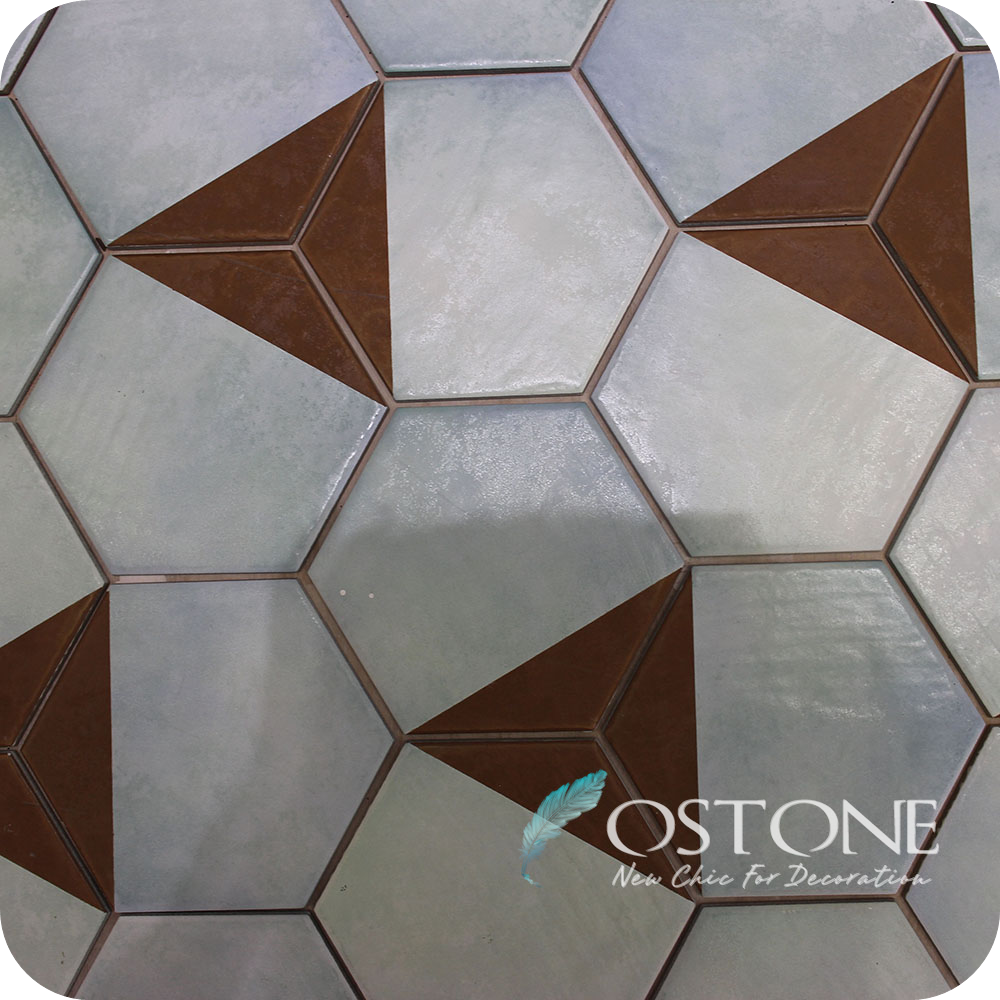 Hexagon Flower Pattern Glazed Decorative China Ceramic Wall Tiles With Color Shading