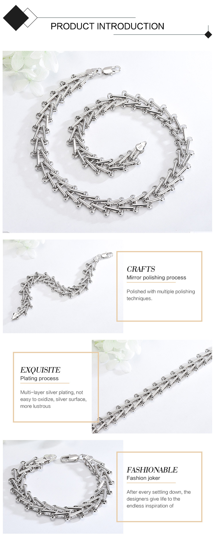 High Quality Simple Platinum Plated Necklace Chain Bracelet Set For Men Gift