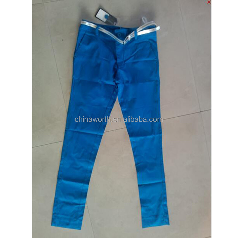 cotton/spandex blue excess inventory pant stock