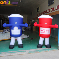 Cheap price custom inflatable funny mascot cartoon costume,coffee cup model for kids