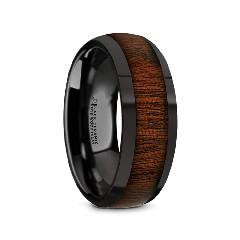 Thorsten FRAENER Pipe Cut Polish Finished Black Ceramic Wedding Ring 8mm Wide Wedding Band from Roy Rose Jewelry