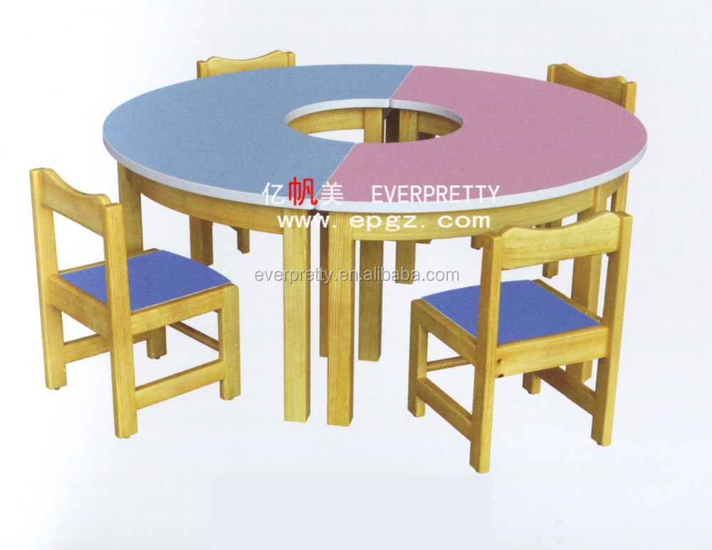 Round Shape School Furniture Kids Desk and Chair Set Pink, Kids Party Child Study Tables and Chairs Set