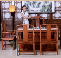 Trade Assurance Quality Promise Authentic Burmese Rosewood Furniture Chinese Antique Style Wood Carved Tea Table Set For Sale