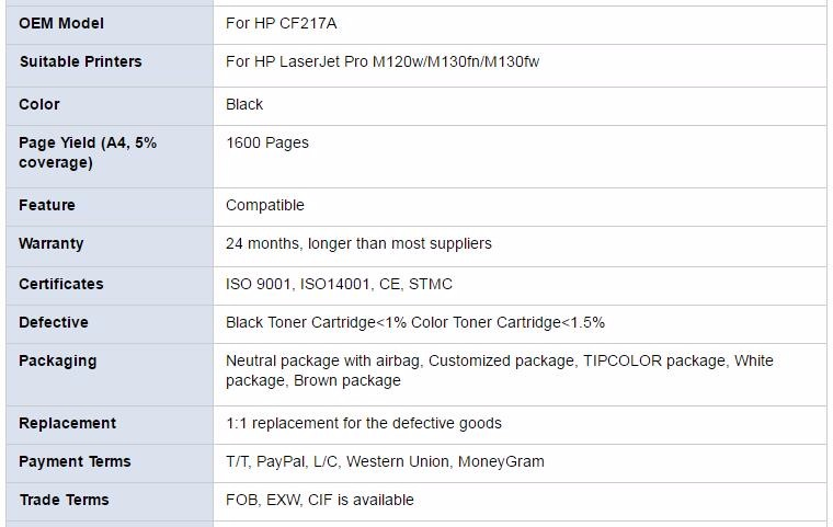 Hot Selling Factory wholesale cf217a Compatible printer toner