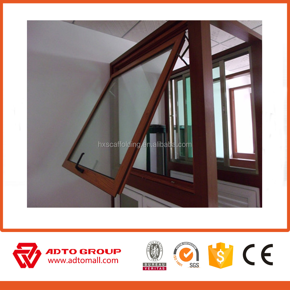 Modern house aluminium sliding window and door in wooden color with grill design with mosquito nets