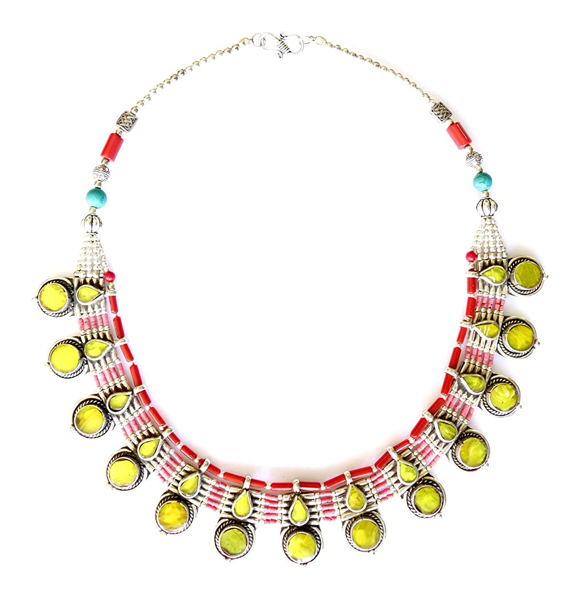 AUTHENTIC HANDMADE JEWELRY TIBETAN COLLAR NECKLACE FOR WOMEN CORAL TURQUOISE & AMBER GEMSTONE TRIBAL VINTAGE UNIQUE FASHION NECKLACE