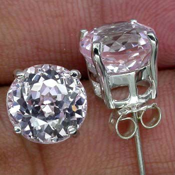 REMARKABLE SOFT PINK KUNZITE MAIN STONE 7.90 CT. GEMS 925 SILVER STUD EARRINGS