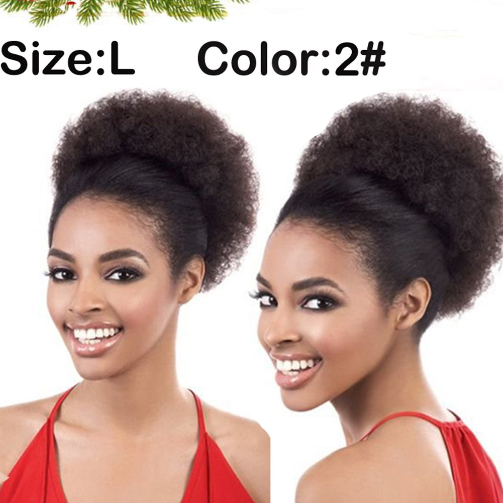 Big Curly Ponytail, Afro Pom Pom Hair Drawstring Ponytail Puff, African American Black Short Afro Kinky Curly Hair Extension, Synthetic Puff Hair(Color 2# Size:L)