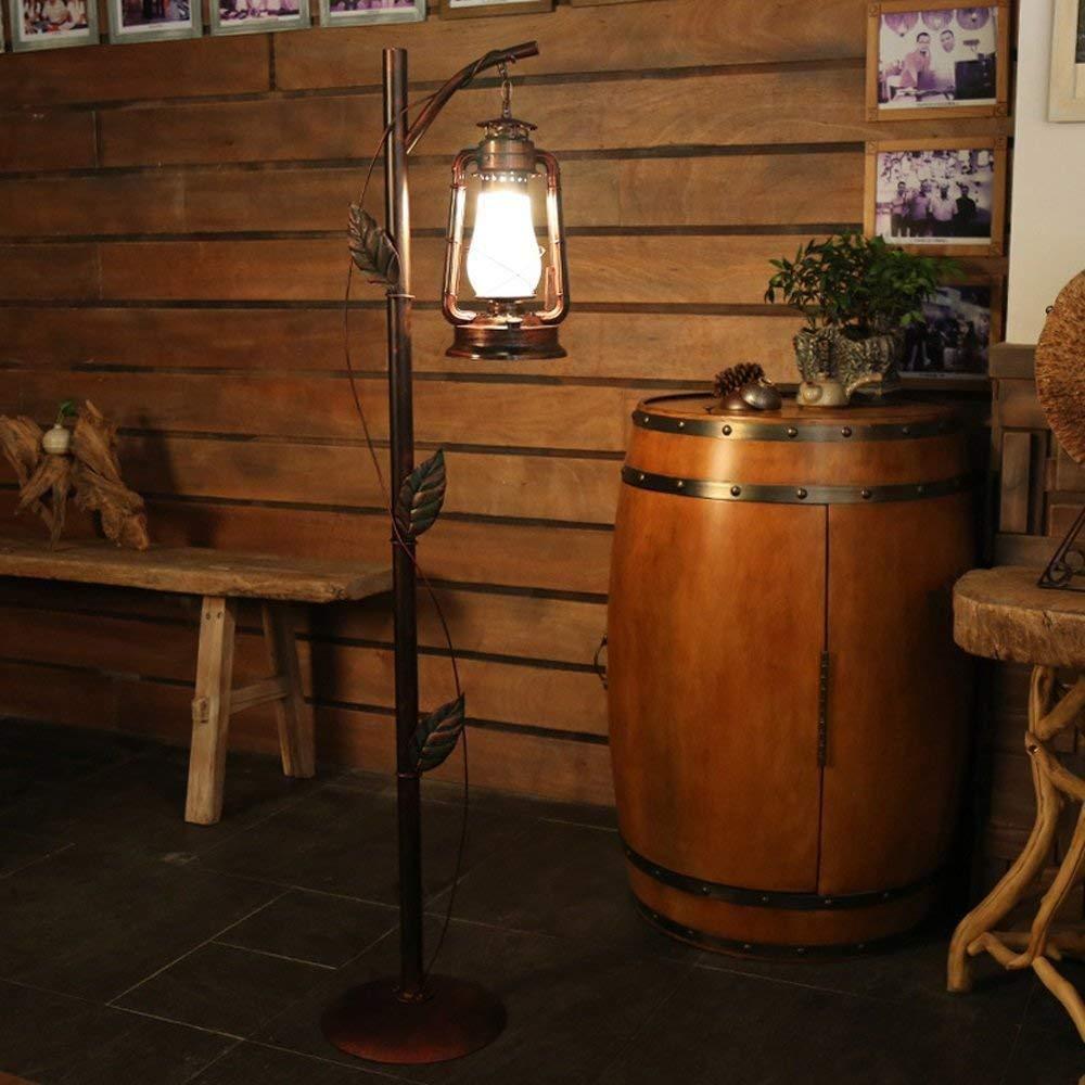 LDDBD Modern Minimalist Fashion Country Restaurant Living Room Bedroom Cafe Light Iron Horse Light, Wind Light Creative Retro Kerosene Lamp Floor Lamp Size: 330 1650Mm A +,Copper,A