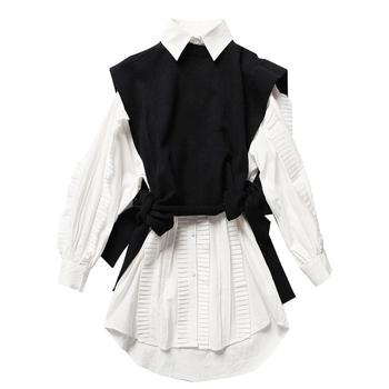 2019 wholesale ladies pleated solid white shirt and irregular knit vest female oversize frills blouse for women two pieces set