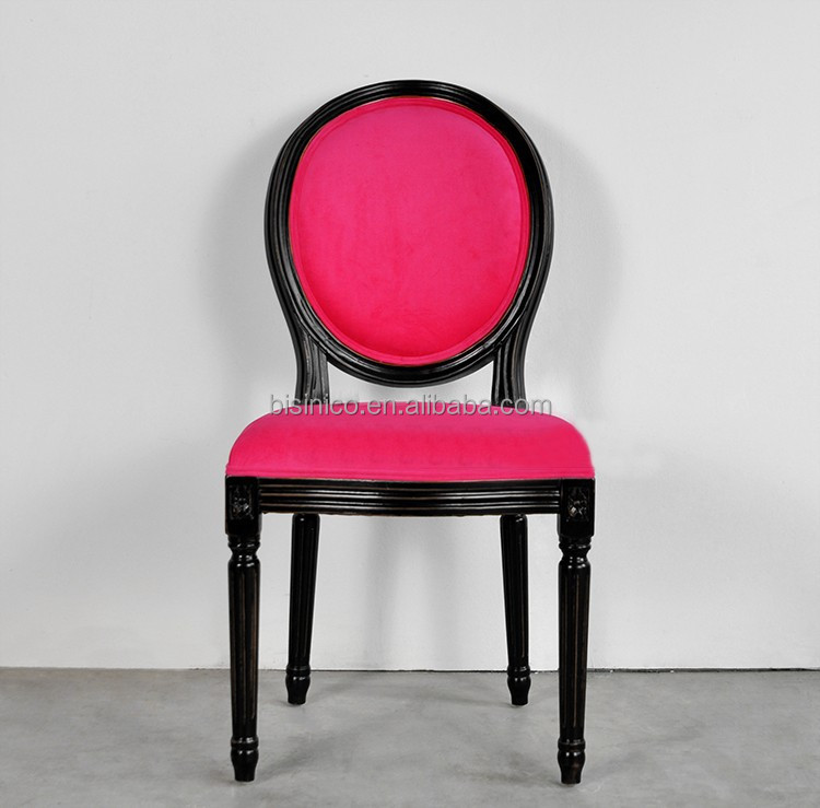 French Style New Classic Pink Velvet Side Chair Retro Provincial
