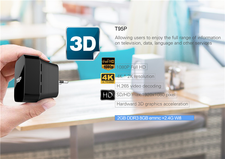 2019 Best selling T95P S905X 2g 8g android 6.0 mini pc for sale D player TV BOX