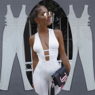 Women Clothing 2018 Sexy Sleeveless White Bandage Jumpsuits Women 2018