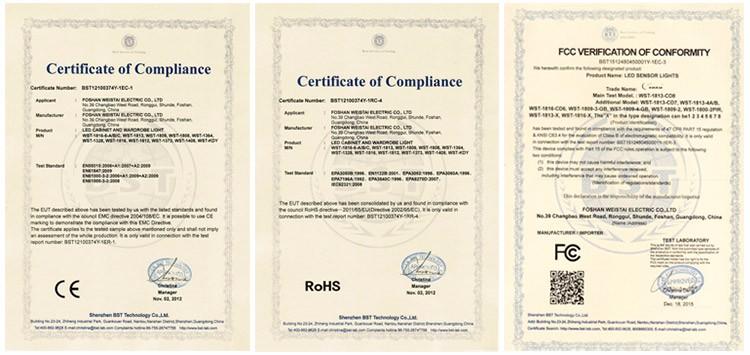 Certificate-cabinet lights