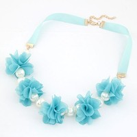 factory price simple flower fabric choker pearl necklace