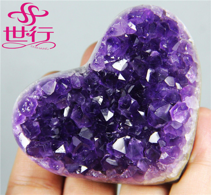 Wholesale really purple natural amethyst cluster gemstone heart shape wedding gift crystal heart