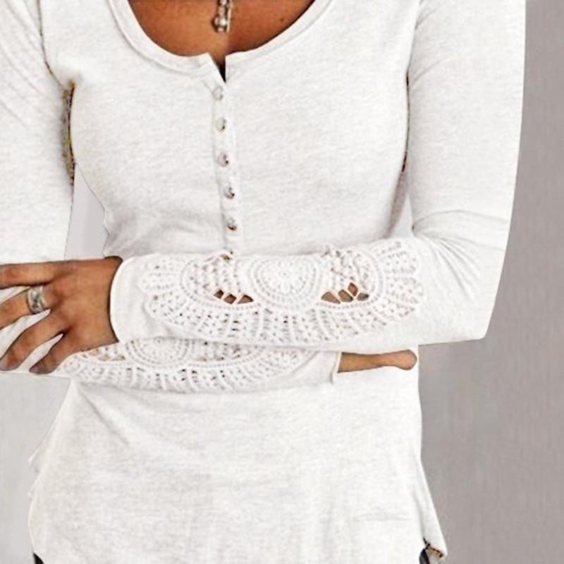 Большой размер женщин вершины дамы вышитые с длинным рукавом футболки тонкий свободного покроя женская одежда sml XL