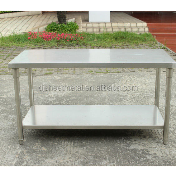 Foldable Kitchen Two Layer Stainless Steel Work Table