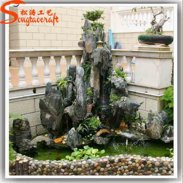 Pool fountains and indoor decorative waterfall fountains for Cascadas de agua artificiales para jardin