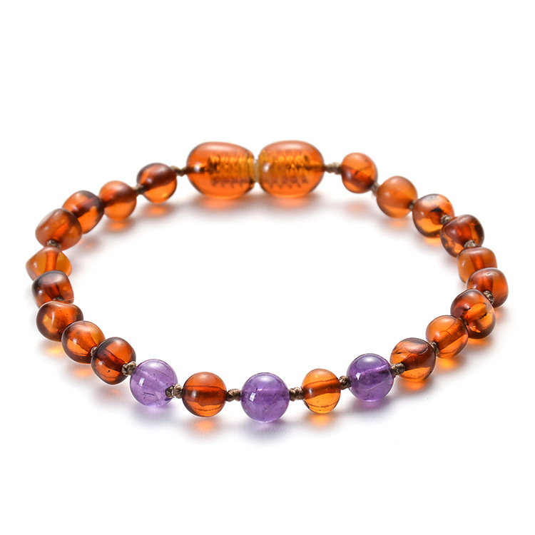 Handmade Baltic Amber Stone Beads Teething Bracelets for Baby