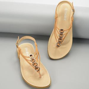Camel Color Fashion New Design Pigskin Flat Women Sandals For Women And Ladies 2019