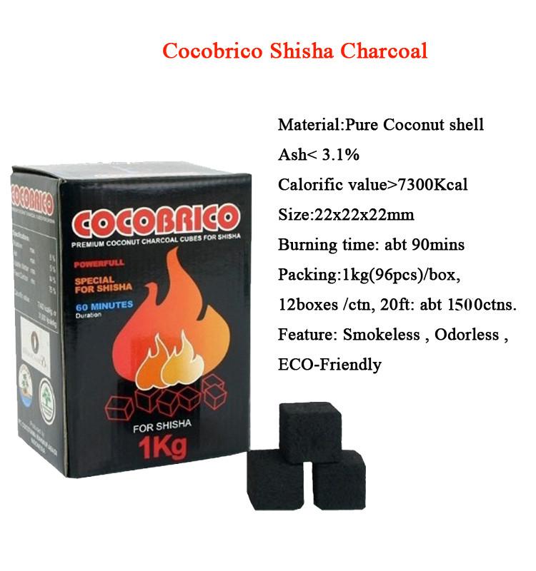 hongqiang Indonesia coconut shell cube charcoal for hookah